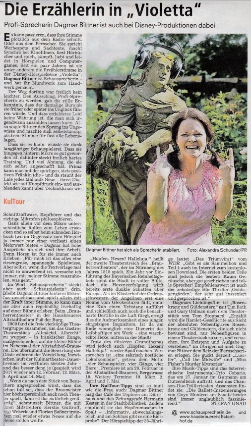 Zeitungsinterview mit Dagmar Bittner NN